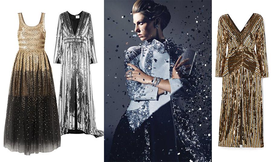 Η απόλυτη λάμψη για τις βραδινές σας εμφανίσεις! Σε ασημί ή χρυσαφί παγιέτες είναι η τέλεια επιλογή. Λαμπερό φόρεμα σε ντεγκραντέ χρυσό και μαύρο, Oscar de la Renta // Mακρύ ασημί, Galvan // Σε χρυσαφί, Rixo