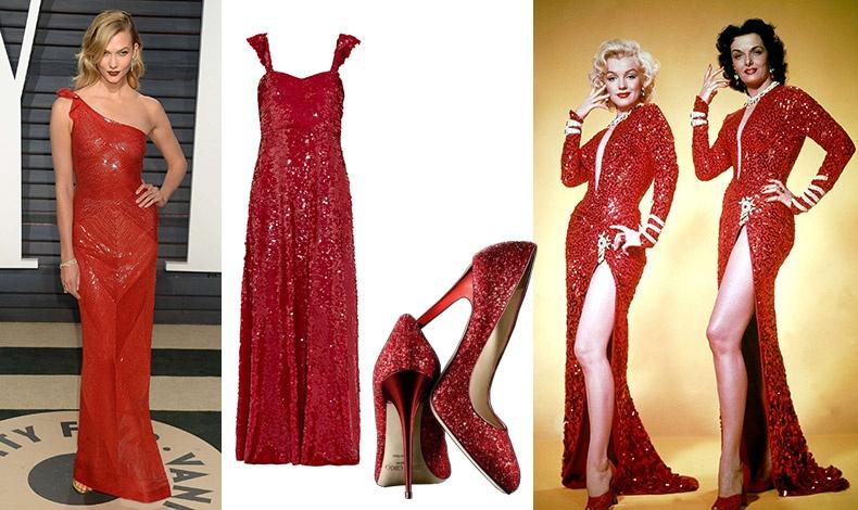 Η Κάρλι Κλος με κόκκινη τουαλέτα από παγέτες // Μακρύ φόρεμα με παγέτες, Valentino // Λαμπερές γόβες, Jimmy Choo // Από την ταινία ?Οι Άνδρες Προτιμούν τις Ξανθές? με την Mέριλιν Μονρόε και την Τζέιν Μάνσφιλντ