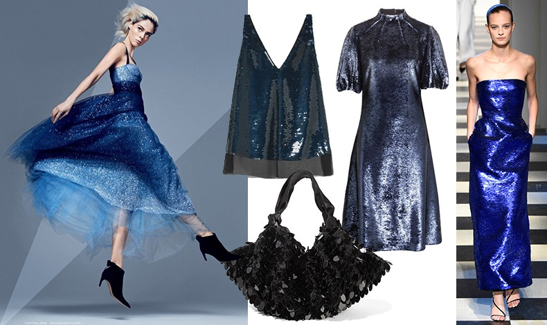 Σε αποχρώσεις του μπλε, Dior, για τη διαφήμιση του νεοϋρκέζικου καταστήματος Neiman Markus// Aμάνικο σε μπλε και μαύρο, Stella McCartney // Λαμπερό μπλε φόρεμα, Emilia Wickstead // Τσάντα με εντυπωσιακές παγέτες, The Row // Aπό την πασαρέλα φθινόπωρο 2017-χειμώνας 2018, Oscar de la Renta