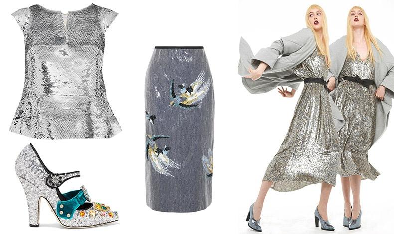 Λαμπερό τοπ σε ασημί, Οscar de la Renta // Παπούτσια με παγέτες, Dolce&Gabbana // Εντυπωσιακή μακριά φούστα, Erdem // Λαμπερές ασημί παγέτες, Norma Kamali