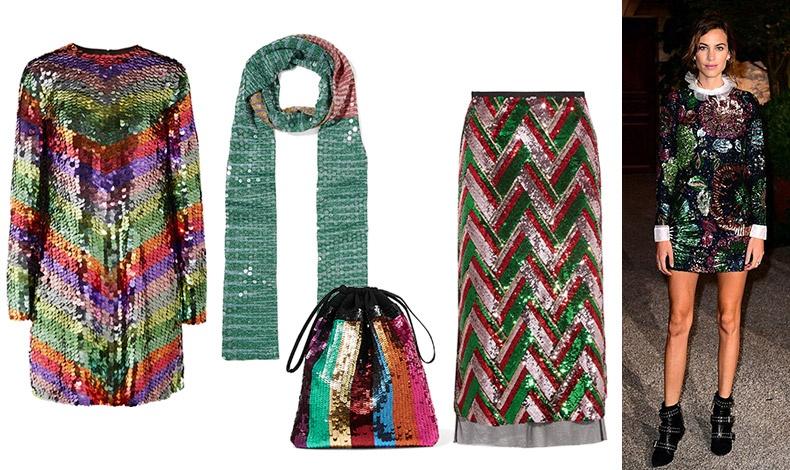 Φόρεμα με πολύχρωμες παγέτες, Sara Battaglia // Κασκόλ, Missoni // Μακριά φούστα με παγέτες, Gucci // Τσάντα, Attico // Η Alexa Chung με μίνι φόρεμα από παγέτες