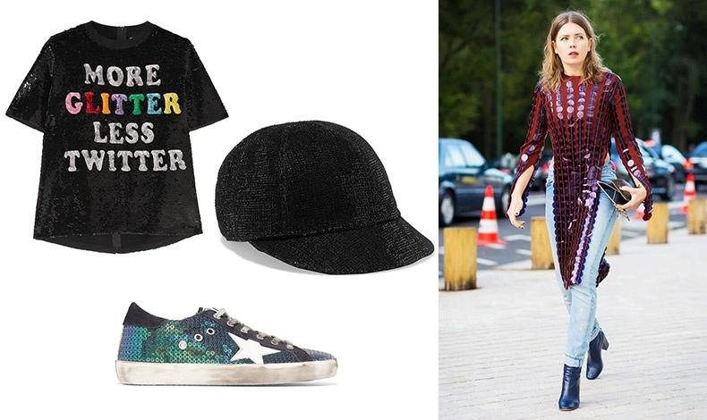 Τ-shirt, Αshish // Μαύρο κασκέτο με παγέτες, Maison Michel // Αθλητικό παπούτσι, Golden Goose Deluxe Brand // Φορέστε το τζιν με παγέτες και δώστε νέα λάμψη στην εμφάνισή σας!