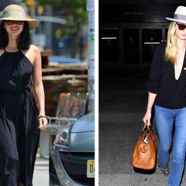 Τέλειος συνδυασμός: Καπέλο Παναμά με μακρύ μαύρο φόρεμα, όπως η Ολίβια Μουν // Η Ρόζι Χάντιγκτον με τζιν και καπέλο Παναμά