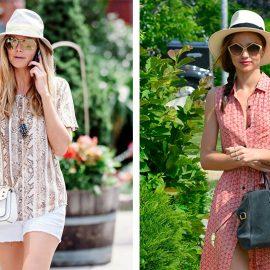 Η Χάιντι Κλουμ φορά λευκό Παναμά με λευκό σορτς // Η Μιράντα Κερ με καπέλο Παναμά συνδυασμένο με μακρύ φόρεμα και τα μαλλιά πιασμένα σε κοτσίδα στο πλάι