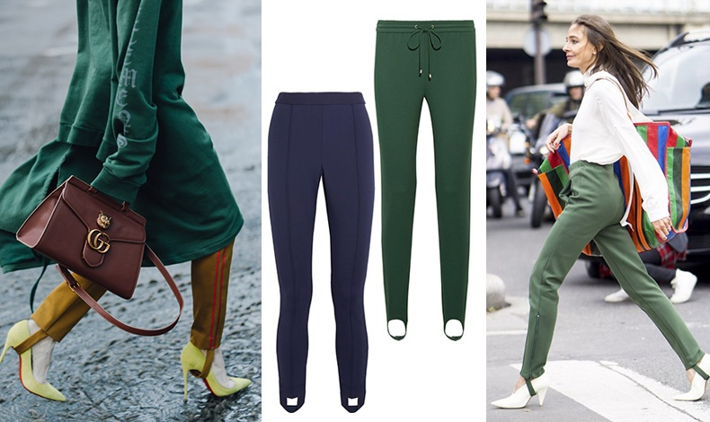 Ένα μονόχρωμο stirrup παντελόνι φοριέται εξαιρετικά με μονόχρωμες γόβες // Μπλε αθλητικό, Tory Sport // Σαν φόρμα, Theory // Αφήστε τα λάστιχα έξω από τις γόβες, ειδικά αν είναι σε κάποιο χρώμα που δημιουργεί αντίθεση