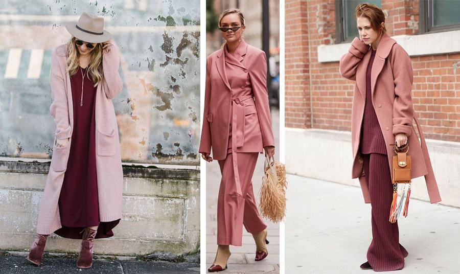 Ο συνδυασμός του «σκονισμένου» ροζ με το μπορντό είναι απλά εντυπωσιακός // Κοστούμι στην απόχρωση συνδυασμένο με μπεζ της άμμου στα αξεσουάρ // Πλεκτό σύνολο σε ροδι-μπορντό και παλτό στην ροζέ απόχρωση