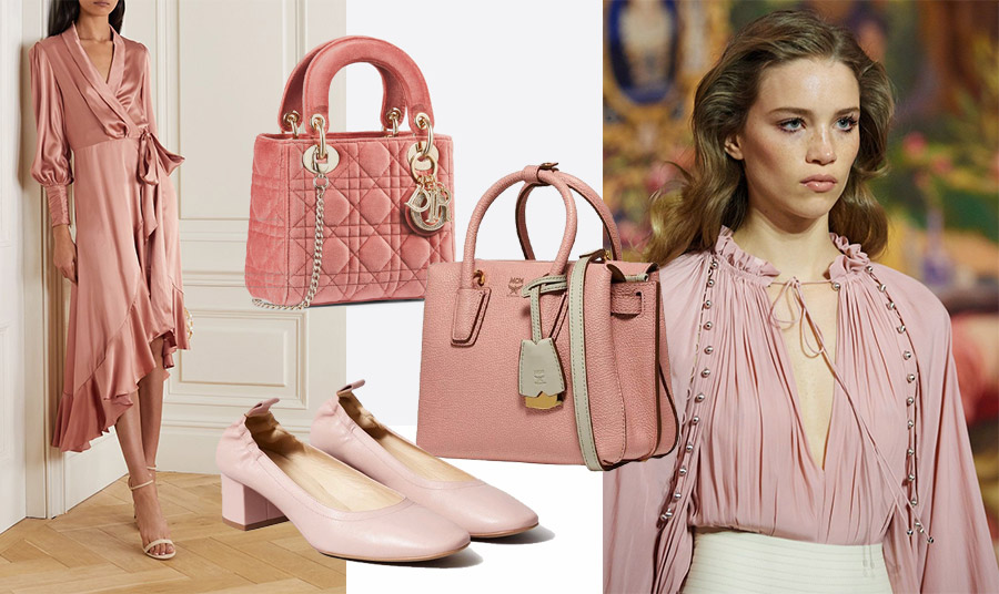 Φορέστε την απόχρωση αυτή του ροζ σε ένα φόρεμα, Zimmermann // Επιλέξτε την σε αξεσουάρ, τσάντα, Lady Dior, Dior // Δερμάτινη τσάντα σε γλυκιά rose tan απόχρωση, MCM // Επιλέξτε ένα ζευγάρι παπούτσια, Everlane // Συνδυάστε το με κρεμ, όπως στη συλλογή Lanvin