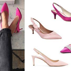 Ροζ ή φούξια; Ιδού η απορία! Έντονο φούξια, Talbots // Με φιογκάκι στο πλάι, Tabitha Simmons // Φούξια με λεπτομέρειες από στρας, Giuseppe Zanotti // Σε παστέλ ροζ, Prada