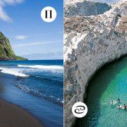 Εκπρόσωπος των Δίδυμων; Απολαμβάνετε τις προκλήσεις! Για εσάς δεν υπάρχει ιδανικότερη παραλία από την ηφαιστειώδη Waipio Valley στην Χαβάη! // Μία Καρκίνος θα μαγευτεί από την παραλία Παπαφράγκα στη Μήλο με την εξωπραγματική ομορφιά της!