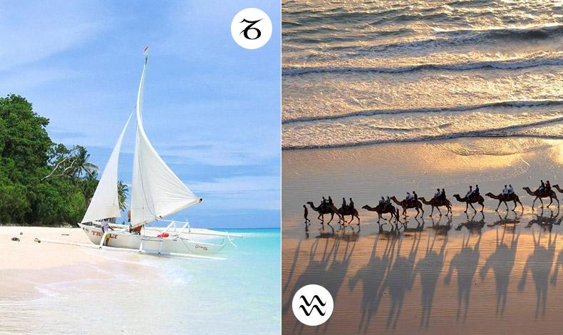 Μία Αιγόκερως ζητά ένα ταξίδι να διασκεδάσει και να χαλαρώσει ταυτόχρονα. Η παραλία Puka στο νησί Boracay στις Φιλιππίνες είναι ο τροπικός σας παράδεισος // Η Υδροχόος ζητά την εξερεύνηση! Η παραλία Cable στην δυτική Αυστραλία σας καλεί να την ανακαλύψετε!
