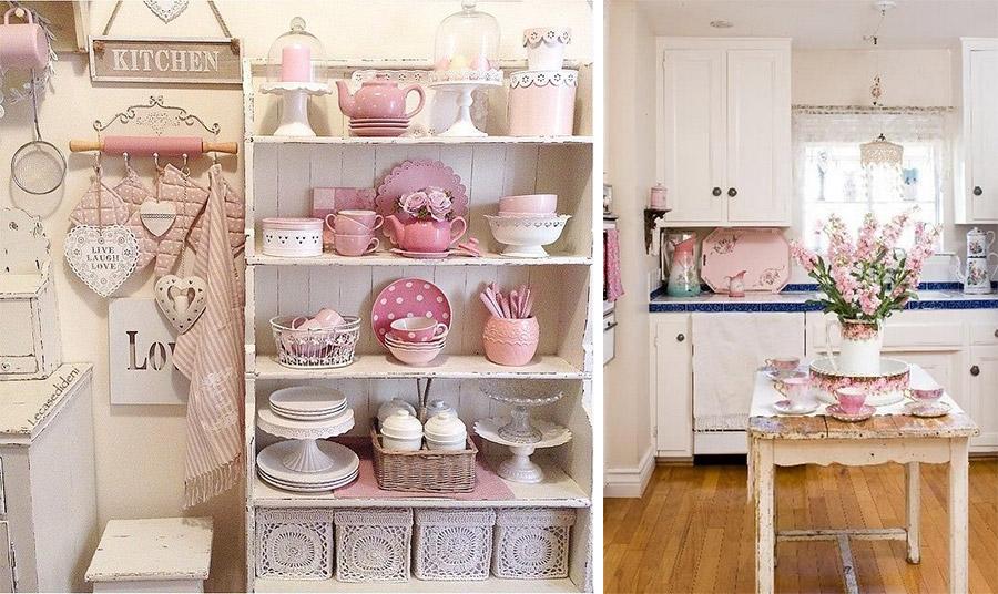 Δημιουργήστε στην κουζίνα σας μια ρετρό και τρυφερή διάθεση με ανοιχτά ράφια και στοιχεία κρεμ και ροζ στα σερβίτσια και τα λευκά είδη της // Δείγμα γαλλικής εξοχής σε μία κουζίνα με λευκό, δαντέλες στο φωτιστικό και ροζ λεπτομέρειες