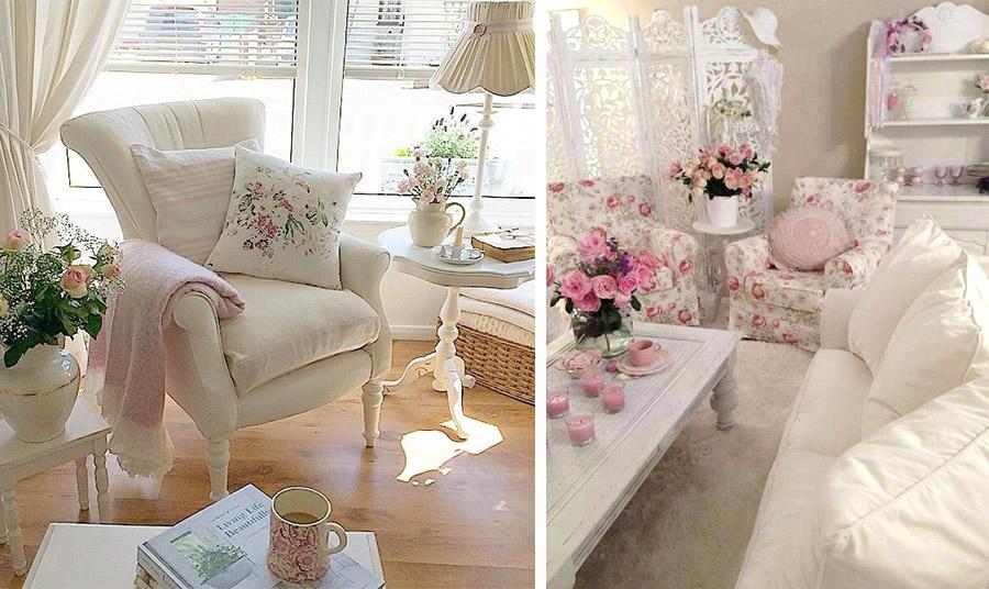 Κρεμ στα έπιπλα και τις κουρτίνες με πινελιές ένα ροζ ριχτάρι και κάποιο μαξιλάρι με κέντημα // Μείξη λευκού με λουλουδάτα ροζ τριαντάφυλλα για τις στόφες των επίπλων. Η ατμόσφαιρα ολοκληρώνεται με κεριά και μπουκέτα φρέσκων λουλουδιών