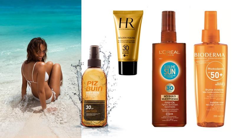 Wet Skin Transparent Sun Spray, διαφανές αντηλιακό spray, PIZ BUIN // Για διατήρηση της νεανικής επιδερμίδας του προσώπου, Golden Youth, HELENA RUBINSTEIN // Προηγμένη προστασία, Sublime Sun αντηλιακό λάδι, L? OREAL // Εξειδικευμένη προστασία, Brume Invisible, Photoderm BIODERMA (αποκλειστικά στα φαρμακεία)