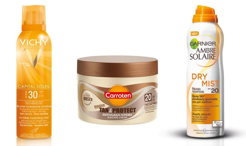 Νέο Αόρατο Ενυδατικό Mist υψηλής προστασίας σώματος και για ευαίσθητες επιδερμίδες, VICHY // Νέα αντηλιακή κρέμα Tan&Protect, CARROTEN // Καινοτόμο προϊόν, εύκολο στη χρήση, ματ αίσθηση, Dry Mist, Αmbre Solaire, GARNIER