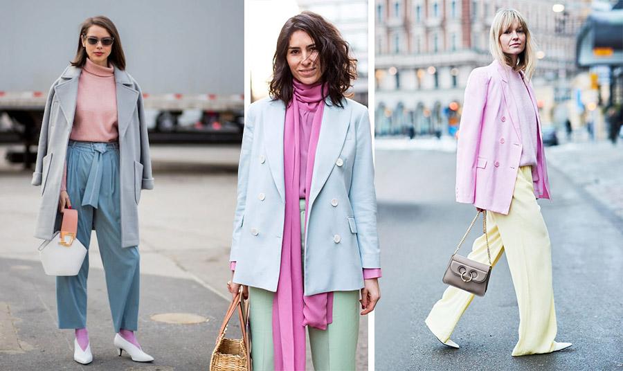 Οι συνδυασμοί με παστέλ είναι μοναδικοί! Dusty pink , γκρι, πετρόλ και μβωβ με λευκά αξεσουάρ // Ένας υπέροχος συνδυασμός με παστέλ γαλάζιο σακάκι, βεραμάν παντελόνι και μία εντυπωσιακή μπλούζα σε φούξια! Η τέλεια λεπτομέρεια, η ψάθινη τσάντα // Παστέλ ροζ και παστέλ κίτρινο για μία κομψή και ήρεμη εμφάνιση που ταιριάζει ιδιαίτερα στις ξανθές