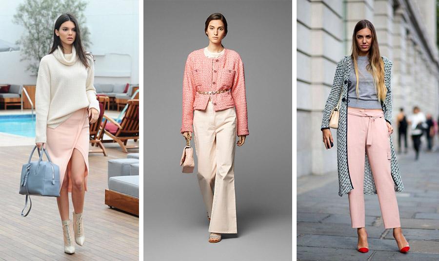 Το παστέλ ροδακινί είναι της μόδας! Με κρεμ όπως το φορά η Κένταλ Τζένερ // Σε ένα υπέροχο σακάκι με κρεμ φαρδύ παντελόνι, η επιτομή της κομψότητας, από τη συλλογή άνοιξη-καλοκαίρι 2020, Chanel // Φορέστε την απόχρωση με γκρι και είστε στο πνεύμα της μόδας