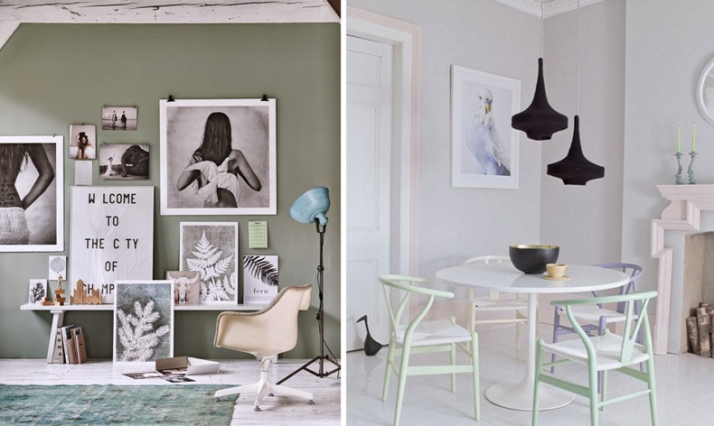 Παστέλ λαδί στους τοίχους με πινελιές γαλάζιου και κρεμ // Βαμμένες σε διαφορετικές αποχρώσεις καρέκλες γύρω από ένα λευκό τραπέζι και μαύρα φωτιστικά?
