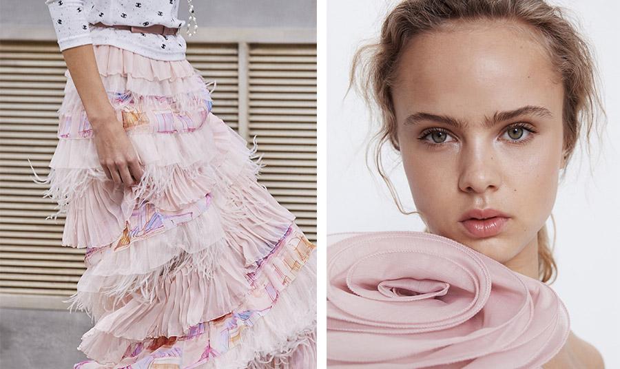 Εντυπωσιακή φούστα, Chanel // Μπλούζα με ένα τεράστιο τριαντάφυλλο όλα σε ροζ