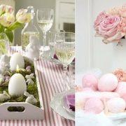 Απλά λευκά κεράκια μέσα σε έναν ξύλινο δίσκο στρωμένο με βρύα και χαριτωμένα λαγουδάκια και σοκολατένια αβγουλάκια μπορούν να γίνουν το κεντρικό στοιχείο στο τραπέζι // Παστέλ ροζ αβγά και ανάλογη ανθοδέσμη για ανοιξιάτικη διάθεση