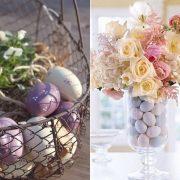 Αβγά σε διάφορα χρώματα και απλά αγριολούλουδα σε ένα σιδερένιο καλαθάκι δίνουν το στίγμα της πασχαλινής διακόσμησης // Σε ψηλό γυάλινο βάζο τοποθετήστε αβγά και τελειώστε με μία εντυπωσιακή ανθοδέσμη
