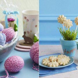 Τυλίξτε μερικά αβγά με κουβάρι στα χρώματα που αγαπάτε και δημιουργήστε μία διαφορετική διακοσμητική εικόνα // Γλαστράκια με λίγη φρέσκια πρασινάδα και λουλούδια? ζαχαρωτά!