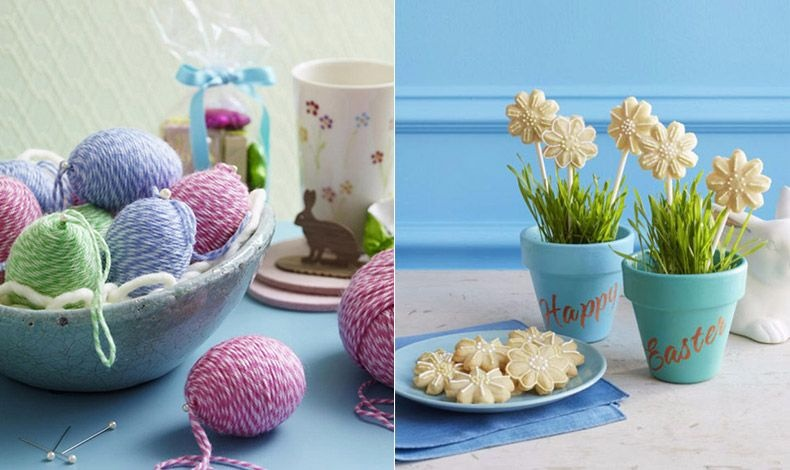 Τυλίξτε μερικά αβγά με κουβάρι στα χρώματα που αγαπάτε και δημιουργήστε μία διαφορετική διακοσμητική εικόνα // Γλαστράκια με λίγη φρέσκια πρασινάδα και λουλούδια... ζαχαρωτά!