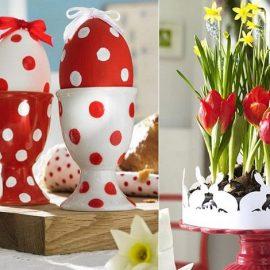 Κόκκινα αβγά ή κόκκινα αβγά πουά στολισμένα με φιογκάκια; Το μυστικό είναι η χρωματική αρμονία // Δημιουργήστε μία σύνθεση με κόκκινα και κίτρινα λουλούδια και φέρτε τη χαρά της Πασχαλιάς στο σπίτι σας