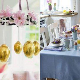 Ένα στεφάνι που μπορεί να κρεμαστεί από το φωτιστικό της τραπεζαρίας και από το οποίο θα κρεμάσετε χάρτινα αβγουλάκια δίνει τον τόνο της γιορτής // Γαλάζιες και μοβ αποχρώσεις με μία πολύχρωμη ανθοδέσμη για το πασχαλινό τραπέζι