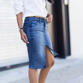 Πώς να φορέσετε την pencil τζιν φούστα σας με στιλ