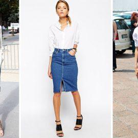 Με το κλασικό λευκό πουκάμισο και πέδιλα ή αθλητικά η τζιν φούστα σας γίνεται πραγματικά… πολυμορφική!