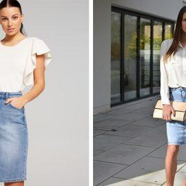 Συνδυάστε την τζιν pencil φούστα με λευκή μπλούζα ή λευκό πουκάμισο και τα ανάλογα αξεσουάρ