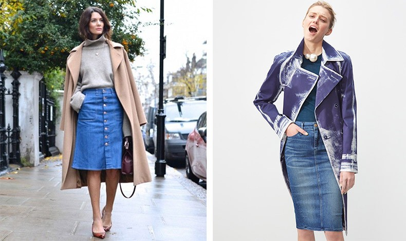 Φορέστε την pencil τζιν φούστα με ζιβάγκο και το παλτό σας // Με ένα απλό μεν τοπ αλλά με εντυπωσιακά κοσμήματα και πανωφόρι αναβαθμίζετε το στιλ σας