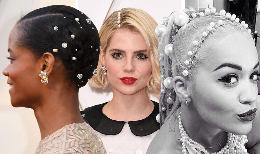 Διαφορετικές εκδοχές σε χτενίσματα με πέρλες, Leticia Wright, Lucy Boynton, Rita Ora