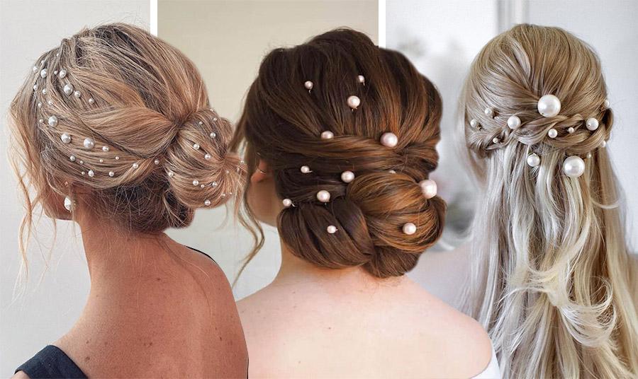 Τοποθετήστε διάσπαρτες πέρλες σε έναν κότσο σε διαφορετικά μεγέθη// Μερικές καρφίτσες από μέτριες πέρλες στολίζουν έναν περίτεχνο κότσο // Πιάστε χαλαρά τα μαλλιά σας πίσω και στολίστε με πέρλες