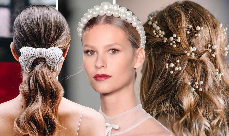 Τα διαφορετικά «πρόσωπα» στα χτενίσματα με πέρλες που είναι φέτος της μόδας. Από ένα εντυπωσιακό φιόγκο από πέρλες, μία στέκα σαν στέμμα πριγκίπισσας ή διάσπαρτες σε όλα τα μαλλιά. Ιδανική επιλογή και για νύφες!