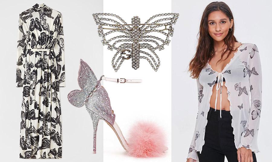Μάξι ασπρόμαυρο φόρεμα, Jil Sander // Καρφίτσα, Gucci // Πέδιλο με στρας και πον πον, Sophia Webster // H σύγχρονη στιγμή σε μία πουκαμίσα με μαύρες πεταλούδες