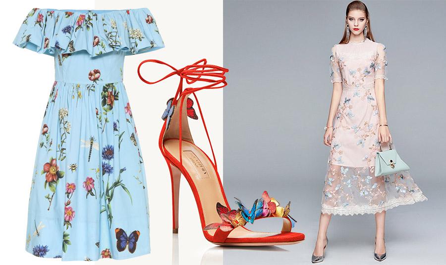 Γαλάζιο φόρεμα στράπλες με βολάν με λουλούδια και πεταλούδες, Oscar de la Renta // Κόκκινο πέδιλο στολισμένο με πολύχρωμες πεταλούδες, Aquazurra // Παστέλ φόρεμα με κεντημένες πεταλούδες, SMTHMA