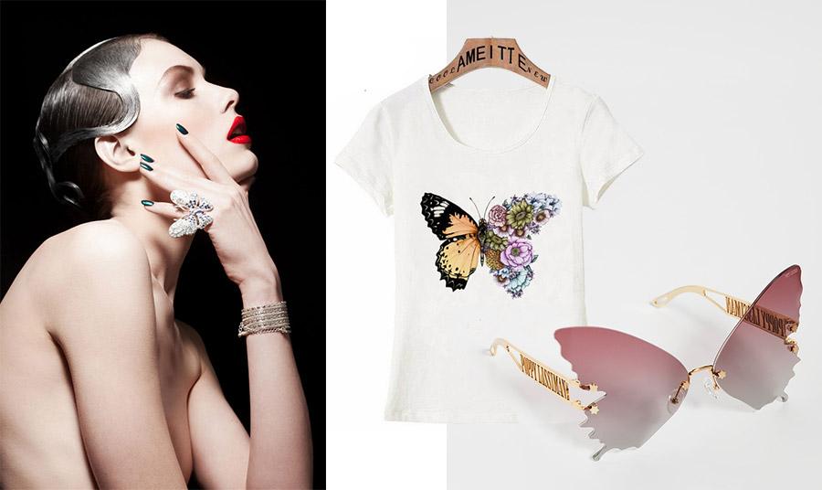 Τα εντυπωσιακά κοσμήματα, όπως ένα δαχτυλίδι-πεταλούδα είναι πάλι της μόδας // Φορέστε ένα T-shirt με στάμπα πεταλούδας // Γυαλιά σε σχήμα πεταλούδας, Poppy Lissiman