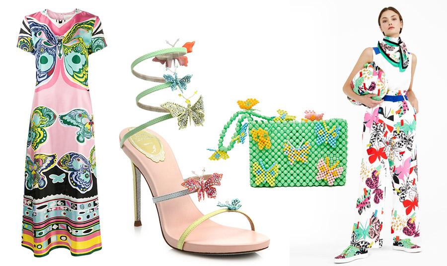 Φόρεμα με τεράστιες γραφίστικες πεταλούδες, Temperley London // Εντυπωσιακό πέδιλο με πολύχρωμε πεταλούδες, Rene Caovilla // Τσάντάκι με χάντρες και πεταλούδες, Susan Alexandra // Σύνολο με απεικονίσεις πεταλούδας, Max Mara