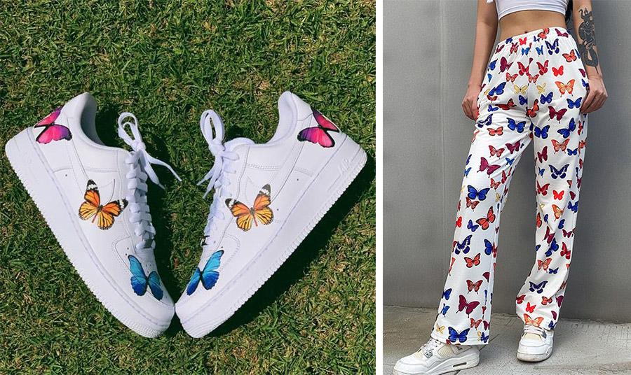 Sneakers με πολύχρωμες πεταλούδες, Nike // Παντελόνι με έντονα χρώματα
