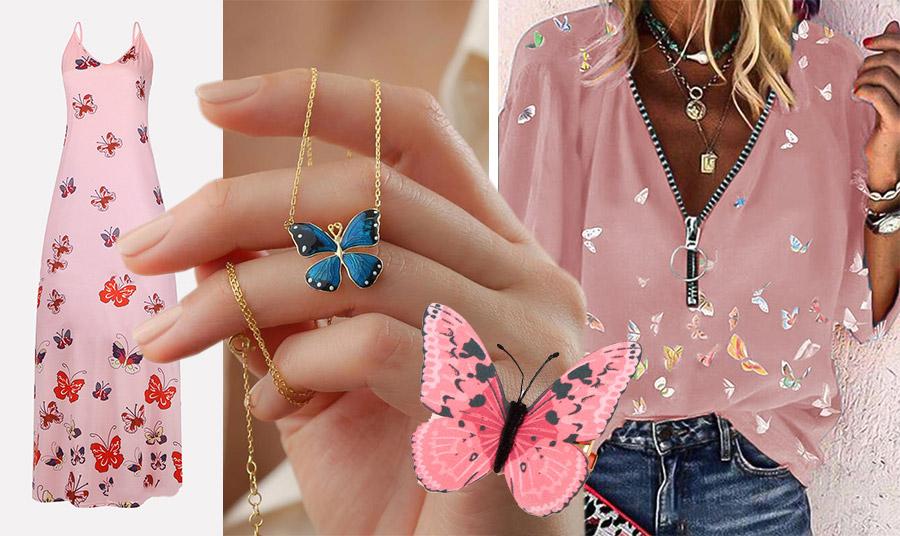 Μάξι ροζ φόρεμα με κόκκινες πεταλούδες, maycool.com // Τα κοσμήματα με πεταλούδες είναι μόδα // Ροζ πεταλούδα για τα μαλλιά, Claire's // H νοσταλγία επανέρχεται με ένα ροζ διάφανο πουκάμισο με κεντημένες πεταλούδες