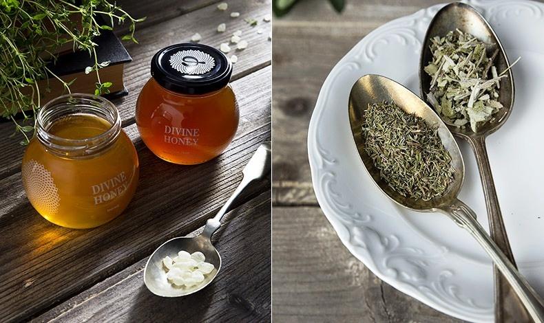 Θυμαρίσιο μέλι, ιδιαίτερα αρωματικό από τα ελληνικά νησιά και μέλι Πεύκου με Μαστίχα Χίου και μαστιχέλαιο από την Ένωση Μαστιχοπαραγωγών Χίου // Ποικιλία από αρωματικά φυτά βιολογικής καλλιέργειας