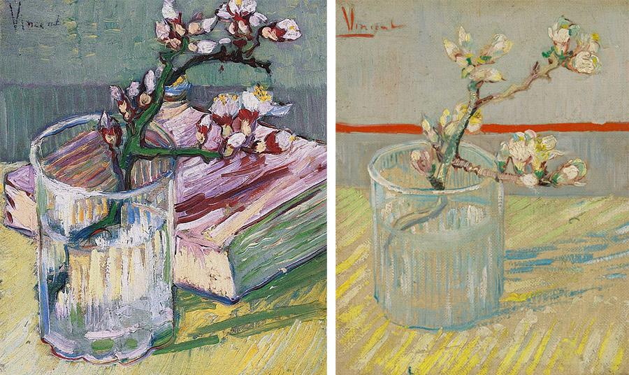 Blossoming Almond Branch in a Glass, Vincent Van Gogh, 1888. Ο πίνακας αριστερά ανήκει σε ιδιωτική συλλογή, ενώ στα δεξιά βρίσκεται στο Μουσείο Βαν Γκογκ στο Άμστερνταμ