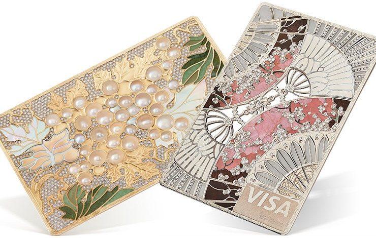 Πιστωτική κάρτα από τη σειρά Luxury Collection με αμπέλια στολισμένη με φύλλα χρυσού, μαργαριτάρια και διαμάντια // Από τη σειρά Art Collection και έμπνευση από την Ιαπωνική τέχνη στολισμένη με διαμάντια!