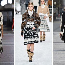 Από τις φετινές πασαρέλες που τα πλεκτά φορέματα είχαν την τιμητική τους σε διάφορες εκδοχές. Με κρόσσια σε άσπρο μαύρο και χοντρή πλέξη, Area // Μέχρι το γόνατο και ζακάρ, Chanel // Ασπρόμαυρο με ζώνη στη μέση, Bottega Veneta