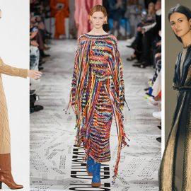 Από τις συλλογές φθινόπωρο 2019-χειμώνας 2020: Καμηλό πλεκτό συνδυασμένο με μπότες, , Max Mara // Εντυπωσιακό πλεκτό μακρύ φόρεμα, Stella McCartney // Με ρίγες σε γκρι ανθρακί και χρυσό, Missoni