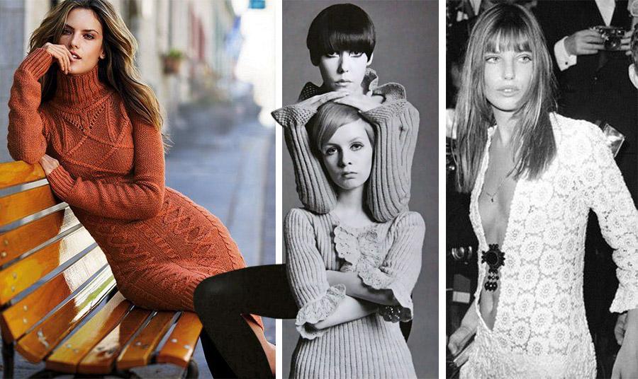 Πλεκτό φόρεμα ζιβάγκο από φωτογράφηση μόδας στα μέσα του '70 // Η Τουίγκι και η Πέγκι Μόφιτ με ριγέ πλεκτά τέλη της δεκαετίας του '60 // Η Τζέιν Μπίρκιν με σέξι βραδινή τουαλέτα με πλεκτή δαντέλα αρχές της δεκαετίας του '70