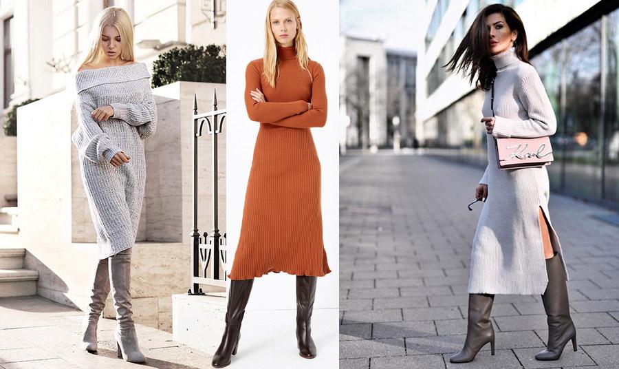 Φορέστε ένα μίντι πλεκτό φόρεμα με ψηλές μπότες και είστε στο πνεύμα της φετινής μόδας