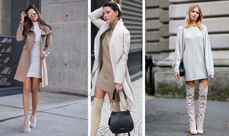 Ένα μίνι πλεκτό φόρεμα ταιριάζει με τα αθλητικά σας παπούτσια για το πρωί και με ψηλές μπότες πάνω από το γόνατο για όλες τις ώρες!