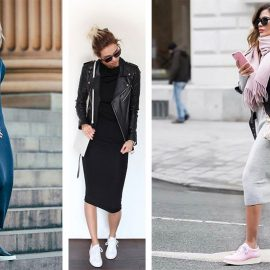Φορέστε ένα μάξι ή μίντι πλεκτό φόρεμα με τα αθλητικά σας παπούτσια για άνετο περπάτημα. Συνδυάστε το κλασικό biker jacket σας και… δρόμο!